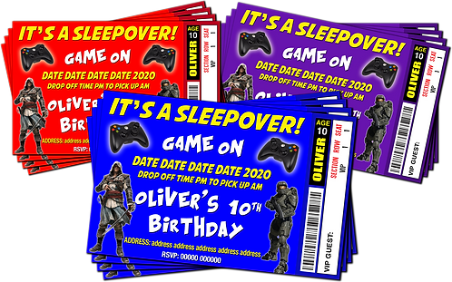 Sleepover, Gamer, Birthday Party Invitation. Ticket Style, Red, Purple or Blue