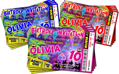 Hot Tub, Sleepover, Party Invitation. Cup Cakes, Ticket Style, Blue, Pink or Red