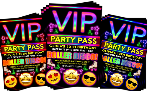 Roller Disco, Birthday Party Invitation. VIP Pass. Emoji. Red, Pink or Blue
