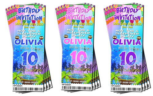 Hot Tub, Sleepover, Party Invitation. Ticket Style, Pastels, Blue, Pink, Purple