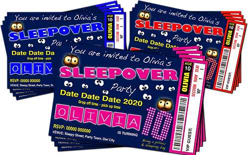 Sleepover, Slumber, Birthday Party Invitation. Ticket Style, Red, Pink or Blue