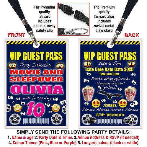 VIP PARTY LANYARD Sleepover, Movie, Birthday Invitation, Pink, Blue or Purple
