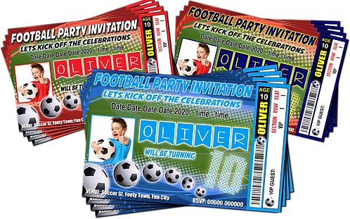 Football, Soccer Party Invitations. Ticket Style + Picture. Red1, Red2, Sky Blue