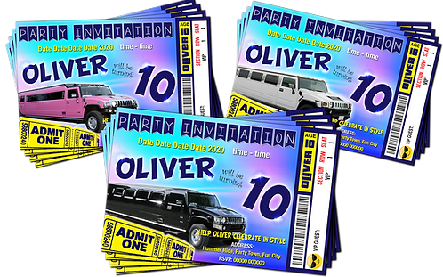 Hummer, Limousine, Birthday Party Invitation, Ticket Style, White, Pink or Black