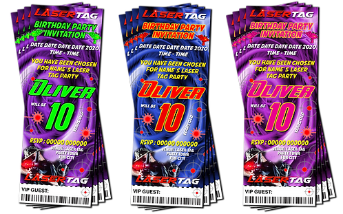 Laser Tag, Quest, Zone, Birthday Party Invitation. Ticket Style