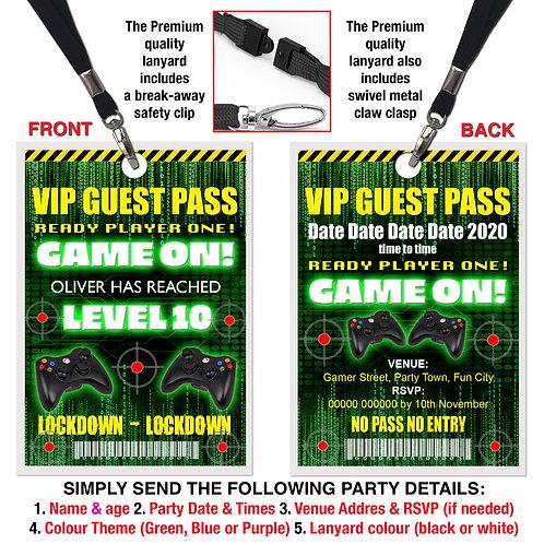 VIP PARTY LANYARD  Lockdown, Gamer, Xbox, PS4, Theme. Purple, Green or Blue