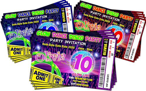 Glow, Neon, Disco, UV,  Party Invitation. Ticket Style, Red, Pink or Blue