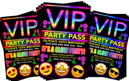 Glow, Neon, Birthday Party Invitation. VIP Pass. Emoji. Red, Pink or Blue