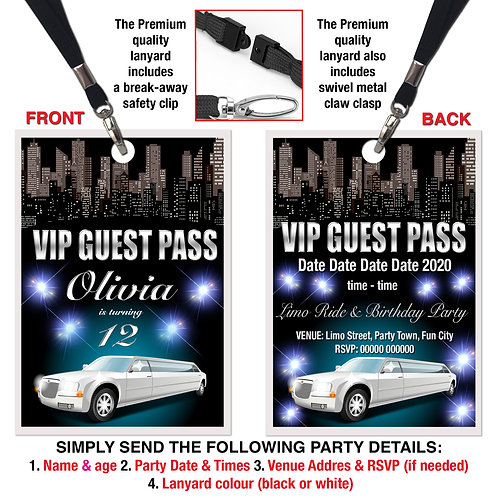 VIP PARTY LANYARD Limousine, Hummer, Birthday, Pink or White