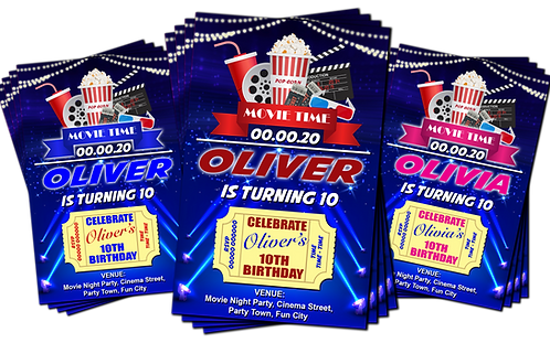 Cinema Movie, Party Invitation. Ticket Theme. Red, Pink or Blue