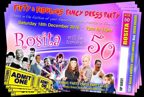 fancy dress party invitation movie tv pop stars