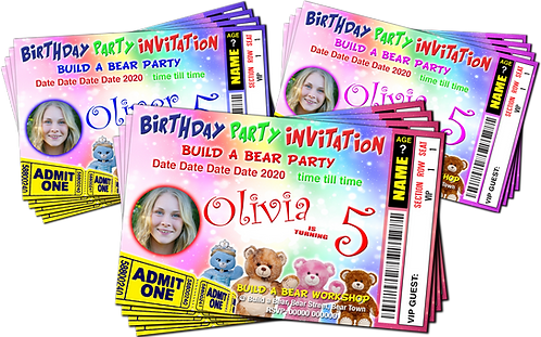 Build A Bear Party Invitations. Ticket Style. With Picture. Red, Pink or Blue