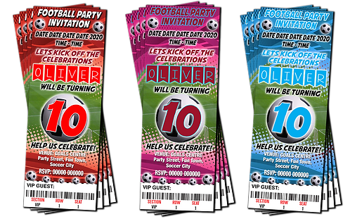Football, Soccer, Party Invitation. Ticket Style Red, Burgundy or Sky Blue