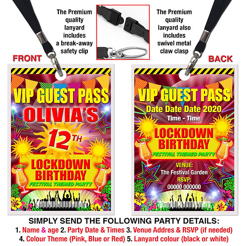 VIP PARTY LANYARD  Festival, Music, Lockdown Theme. Pink, Red or Blue