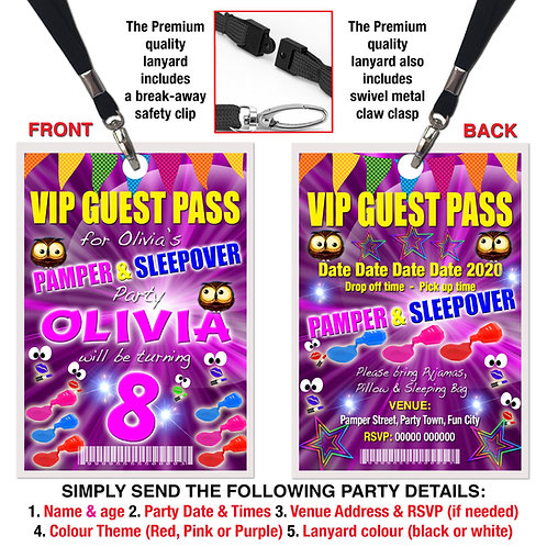 VIP PARTY LANYARD Sleepover, Pamper, Birthday Invitation, Pink, Red or Purple