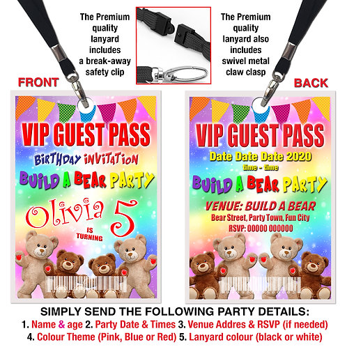 VIP PARTY LANYARD Build A Bear Birthday Pass, Pink, Red or Blue