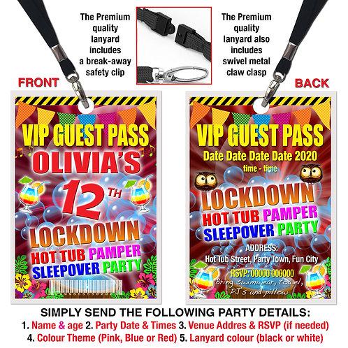 VIP PARTY LANYARD  Hot Tub, Lockdown, Pamper, Sleepover, Theme. Pink, Re