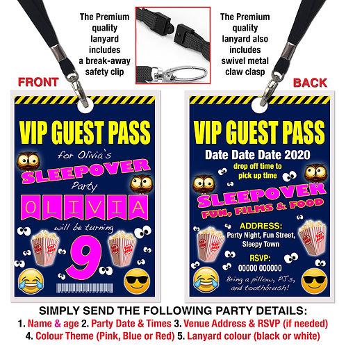 VIP PARTY LANYARD Sleepover, Owls, Emoji, Birthday Invitation, Pink, Blue or Red