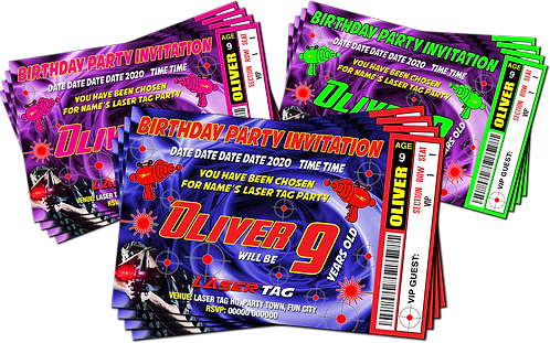 Laser Tag, Quest, Birthday Party Invitation, Ticket Style, Blue, Pink or Red