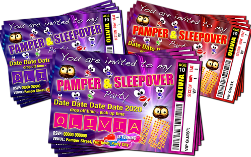 Pamper, Sleepover, Birthday Party Invitation, Ticket Style. Red, Purple, Pink