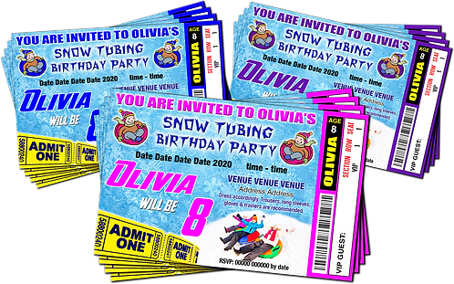 Snow Tubing, Birthday Party Invitation. Ticket Style, Blue, Pink or Purple