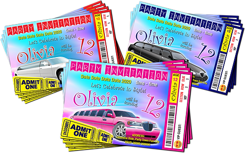 Limousine, Hummer, Birthday Party Invitation, Ticket Style, White, Pink or Black