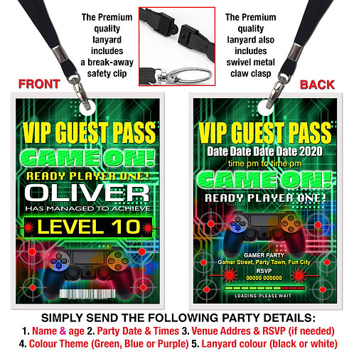 VIP PARTY LANYARD  Gamer, Xbox, PS4, Theme. Purple, Green or Blue