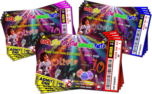 Karaoke, Rock, Pop, Star, Ticket Style + Picture. Red, Pink or Blue