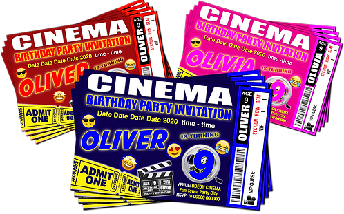 Cinema, Movie Birthday Party Invitation. Ticket Style Red, Pink or Blue