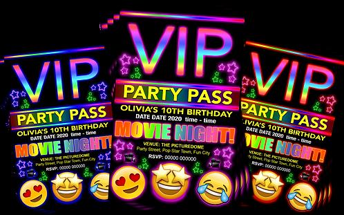 Cinema Movie, Party Invitation. VIP Pass. Emoji. Red, Pink or Blue