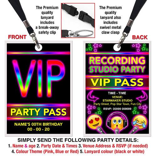 VIP PARTY LANYARD  Recording Studio, Karaoke, Emoji, Pink, Red or Blue