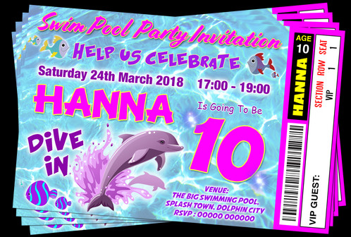 swim dolphin pool party invitation ticket style