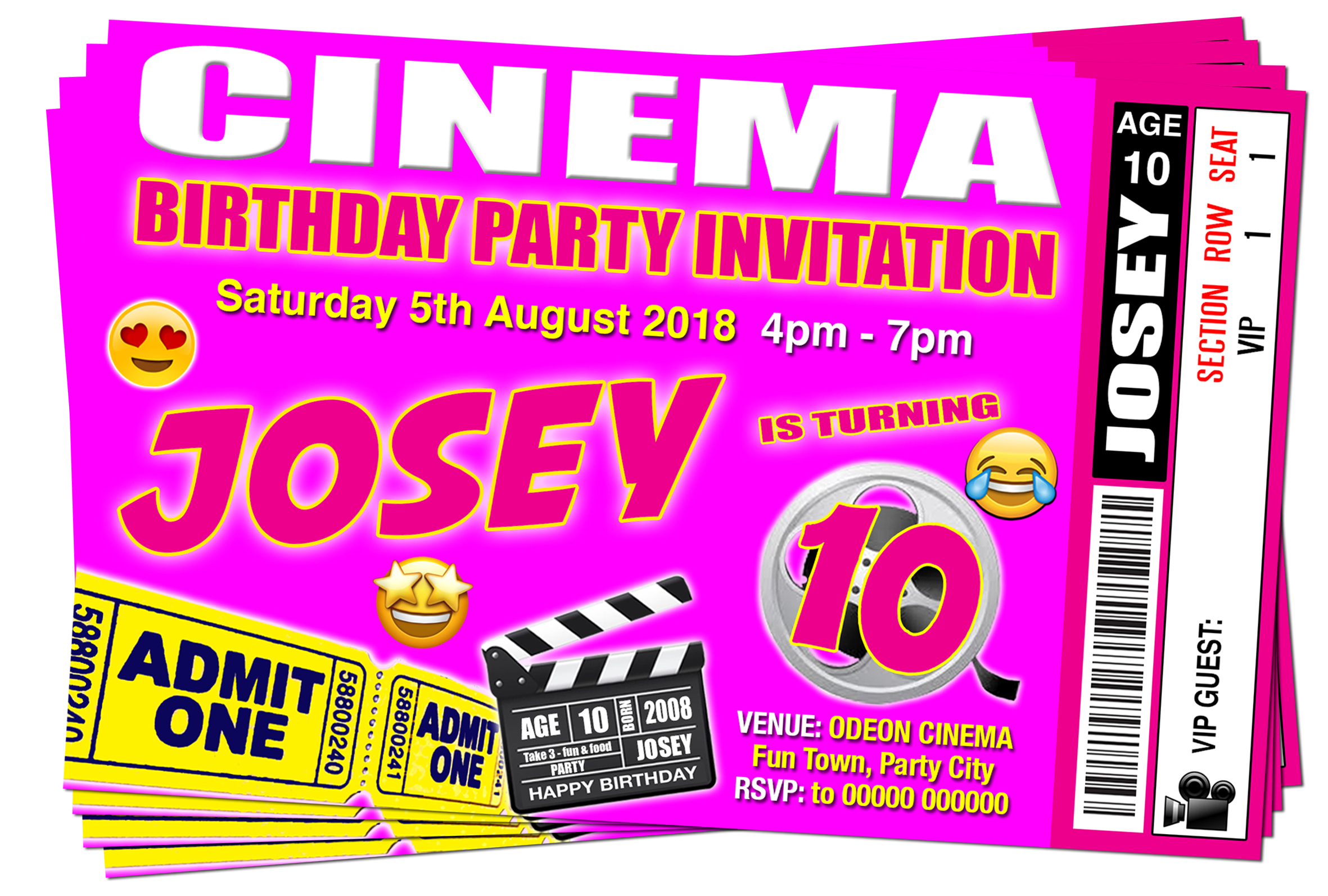 Cinema Movie Party Invitation Pink Emoji Ticket Style