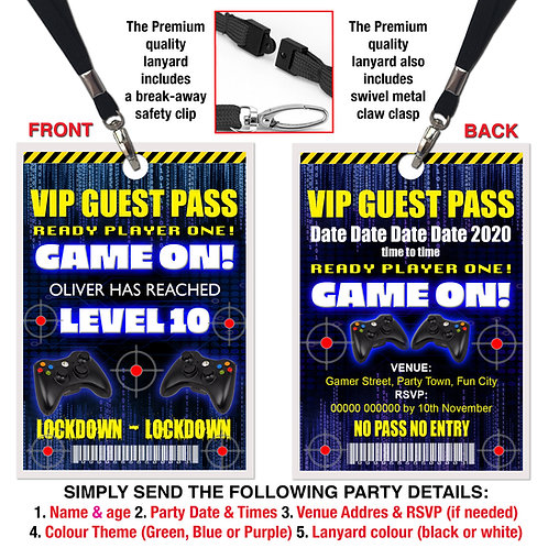 VIP PARTY LANYARD  Lockdown, Gamer, Xbox, PS4, Theme. Purple, Green or B