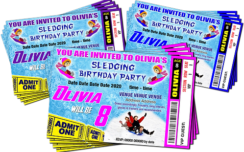 Snow Sledging, Birthday Party Invitation. Ticket Style, Blue, Pink or Purple