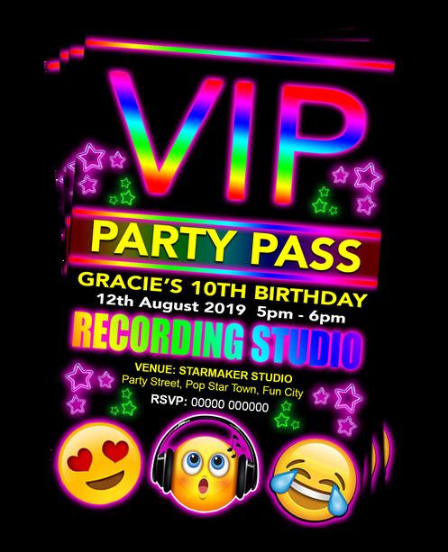 Recording Studio Pop Star Birthday Party Invitations VIP Emoji Theme