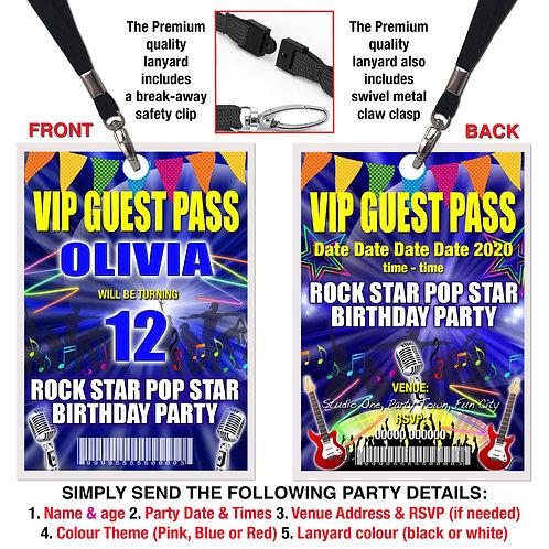 VIP PARTY LANYARD Rock Pop Star, Studio, Karaoke, Invitation, Pink, Red or Blue