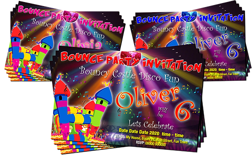 Bouncy Castle Disco Party Birthday Invitation. Red, Pink or Blue