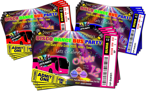 Party Bus Disco Dance Invitation. Cup Cakes. Ticket Style Red, Pink or Blue