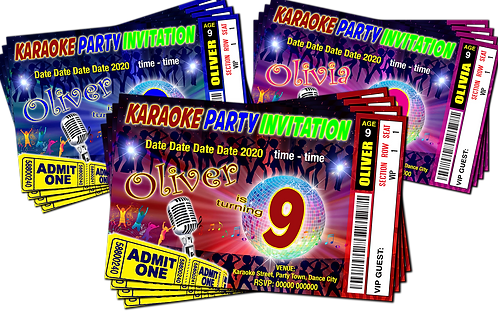 Karaoke, Pop Rock Star, Party Invitation, Ticket Style, Blue, Pink or Red