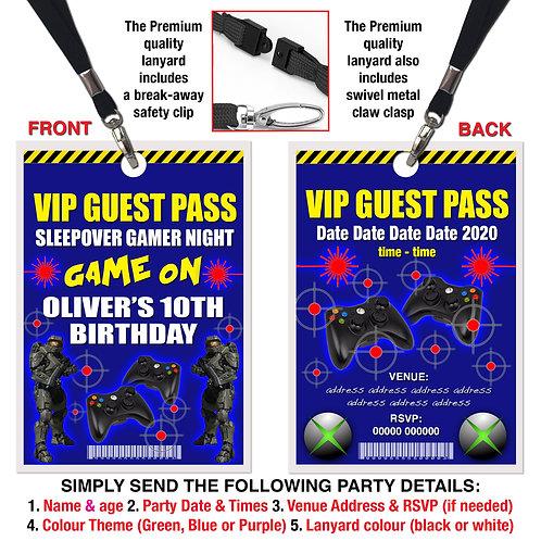 VIP PARTY LANYARD Sleepover, Gamer, Xbox, Invitation, Green, Blue or Purple