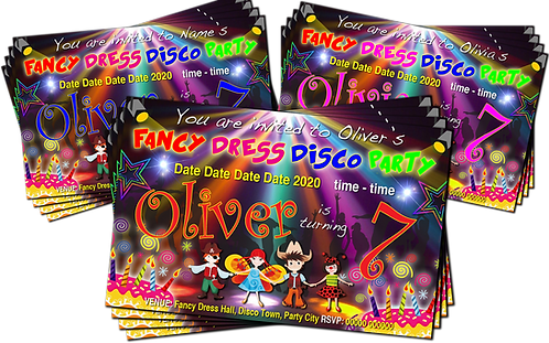 Fancy Dress, Disco, Birthday Party Invitation. Red, Pink or Blue