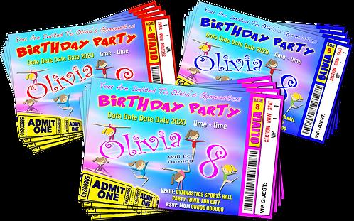 Gymnastics, Birthday  Party Invitation. Ticket Style, Red, Pink or Blu