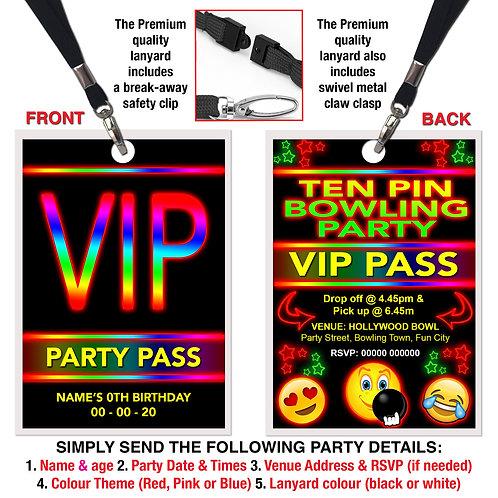 VIP PARTY LANYARD Ten Pin Bowling, Emoji Theme. Pink, Red or Blue