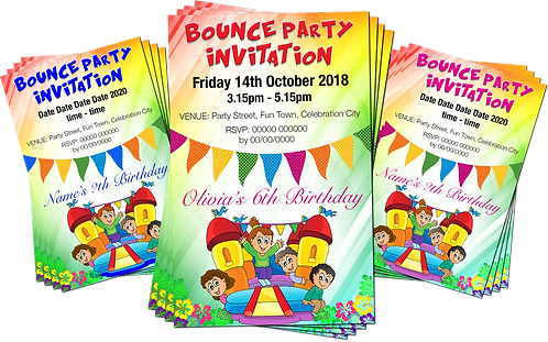 Bouncy Castle Birthday Party Invitation. Red, Pink or Blue