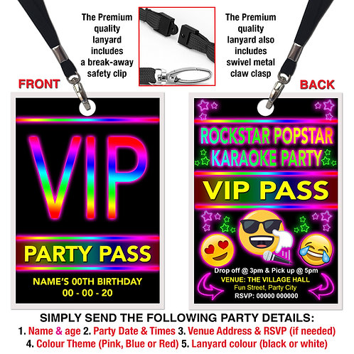 VIP PARTY LANYARD  Karaoke, Emoji, Rock Pop Star, Pink, Red or Blue