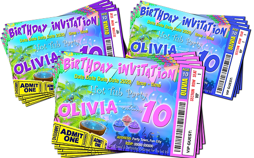 Hot Tub, Birthday Party Invitation. Ticket Style, Pastels: Purple, Pink or Blue