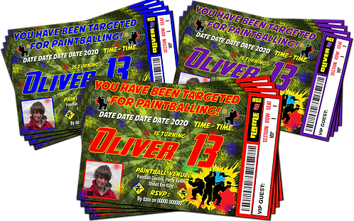 Paint Ball, Paintballing, Ticket Style + Picture. Red, Purple or Blue