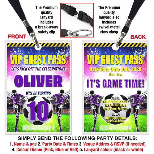 VIP PARTY LANYARD  Football, Soccer, Theme. Purple, Red or Blue