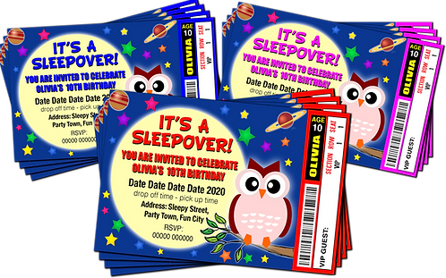 Sleepover, Moon, Owl, Birthday Party Invitation. Ticket Style, Red, Pink or Blue